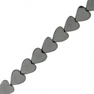 Hematite beads heart 4mm Matt Anthracite Grey