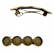 Settings hairpin metal for 4 cabochons 12 mm Bronze
