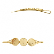 Settings bobby pin metal for 3 cabochons 12 mm Gold