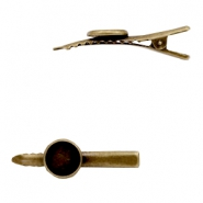 Settings hair clip metal for cabochon 12 mm Bronze