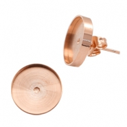 Polaris steel earrings setting for cabochon 12mm Rose Gold