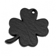 DQ leather charms clover large Midnight Black