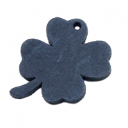 DQ leather charms clover large Dark Denim Blue
