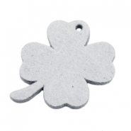 DQ leather charms clover large Light Grey