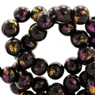 8 mm glass beads gold foil look Black Gold-Cherish Pink