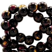 8 mm glass beads gold foil look Black Gold-Auburn Brown