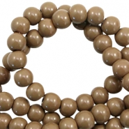8 mm glass beads opaque Dark Taupe Brown