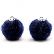 Faux fur pompom charms 16mm Dark Midnight Blue