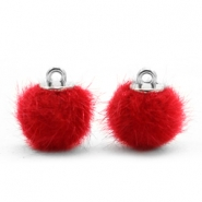 Faux fur pompom charms 12mm Scarlet Red