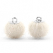 Faux fur pompom charms 12mm Off white