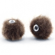 Faux fur pompom beads 12mm Classic Brown