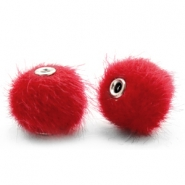 Faux fur pompom beads 12mm Scarlet Red