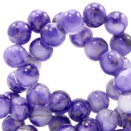 8 mm glass beads gold line Purple-White