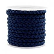 Trendy flat cord braided silk style 5mm Dark Blue