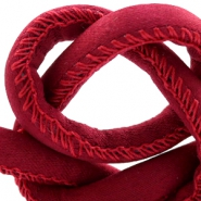 Trendy stitched cord silk style 6x4mm Red