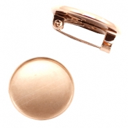 Findings metal brooch for cabochon 20 mm Rose Gold