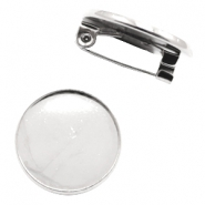 Findings metal brooch for cabochon 20 mm Antique Silver