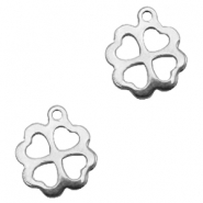 Stainless steel charms clover Silver