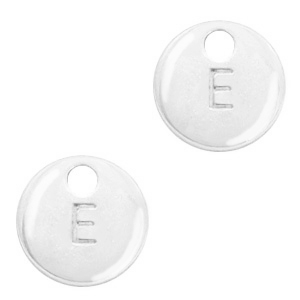 Metal charms initial E Antique Silver (nickel free)