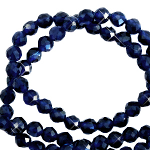 2 mm natural stone faceted beads crystal Dark Blue