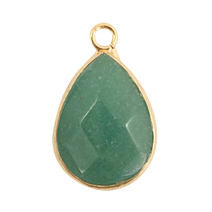 Natural stone charms drop Light Green-Gold