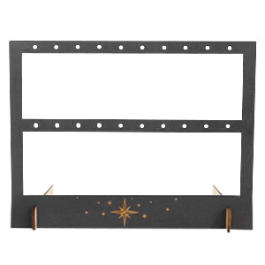 "Jewellery display wood two rows for earrings ""Stars"" Black"