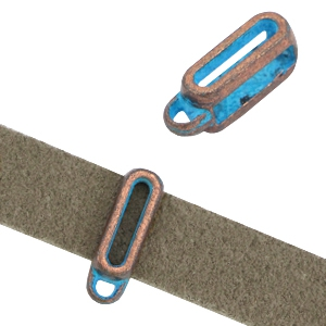 DQ rectangle sliders with loop (for 10mm DQ flat leather) Copper blue patina (nickel free)