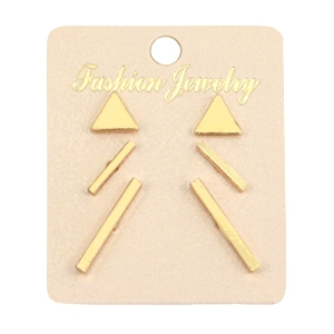 Earrings bar & studs Gold