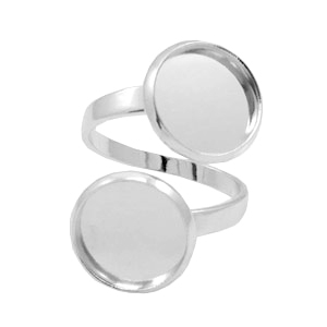 Rings metal for 2 cabochons 12mm Antique Silver