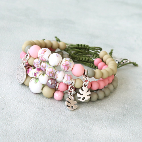 Cheerful bracelets with ceramic beads, macramé cord and DQ European metal charms!