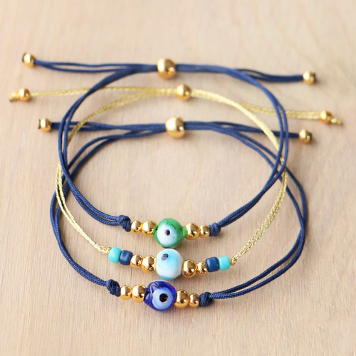 Making subtle bracelets with the new evil eye beads: