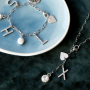 Inspiration with new metal initial charms with rhinestones + jewellery cards